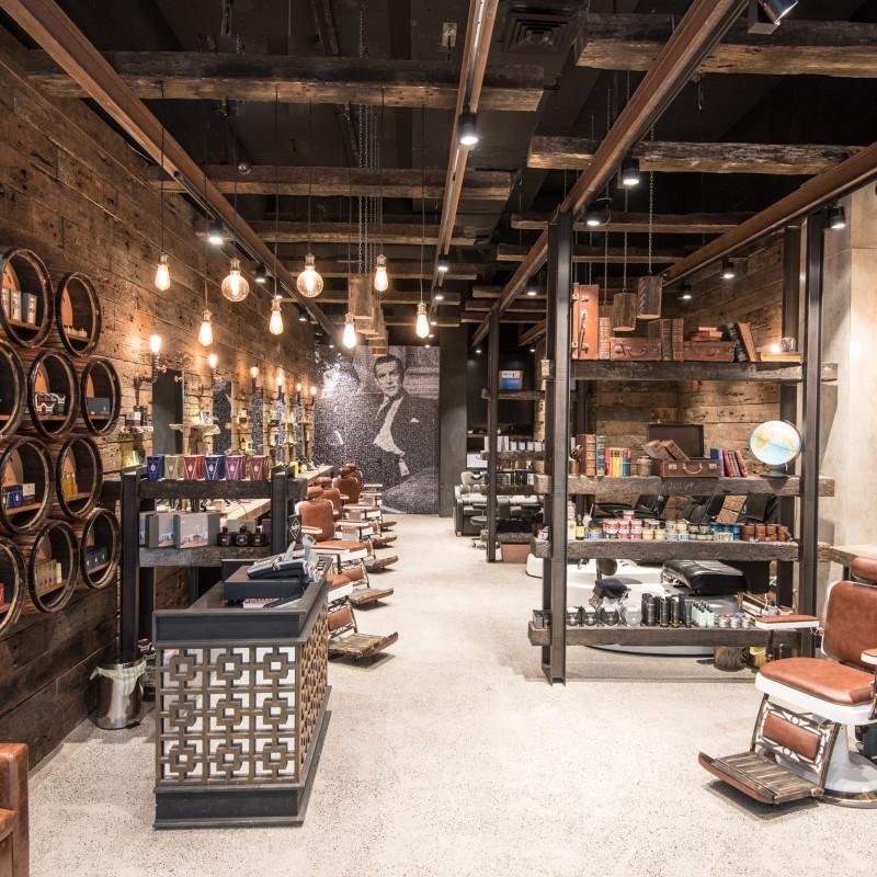 Mancave Burwood Westfield Basalt Studio hair salon interior design sydney